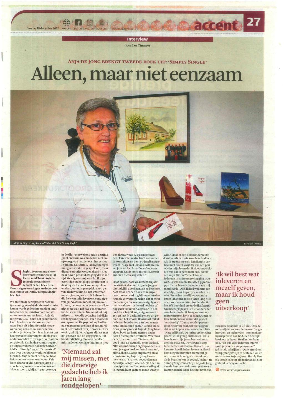 """Download """"Alleen, maar niet eenzaam"""" van Anja de Jong"""
